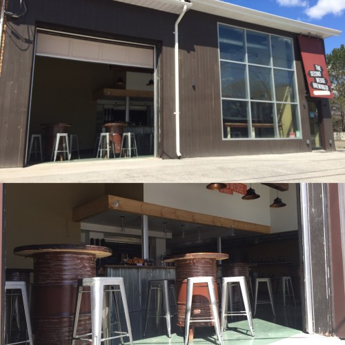 Two views of the tasting room at The Second Wedge Brewing Company through the open garage door